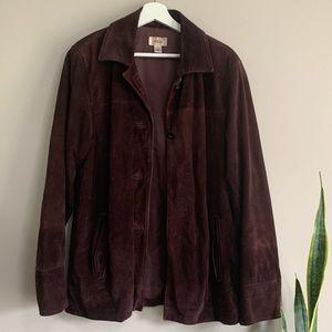 Vintage Talbots brown genuine leather suede coat